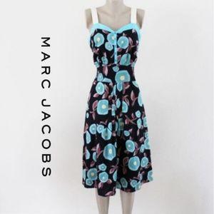 Marc Jacobs Black Blue Floral Dress